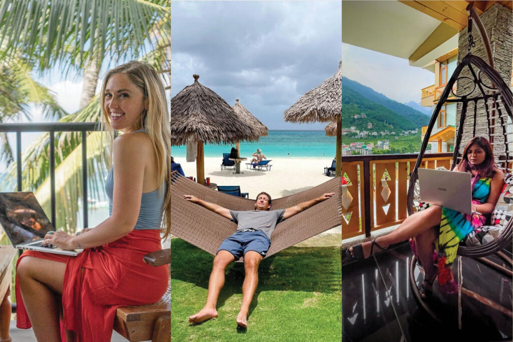 Images of popular social media influencers on Instagram who are digital nomads or work remotely all over the world; From Left: @christabellatravels working in Mirissa, Sri Lanka, @wanderingearl relaxing on Tamarijn Beach, @workcations.in working in Manali, Himachal Pradesh